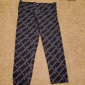 Pink gray/black printed capri leggings.  Small.